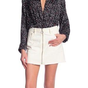 Free People White Denim Zipper Front Skirt NWT 31